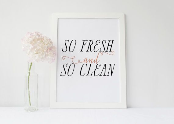 Printable Quote So Fresh And So Clean 8x10 Laundry Room Decor Black And Pink Printable Minimal Bath Decor Home Decor Quotes Laundry Room Decor Printable Quotes