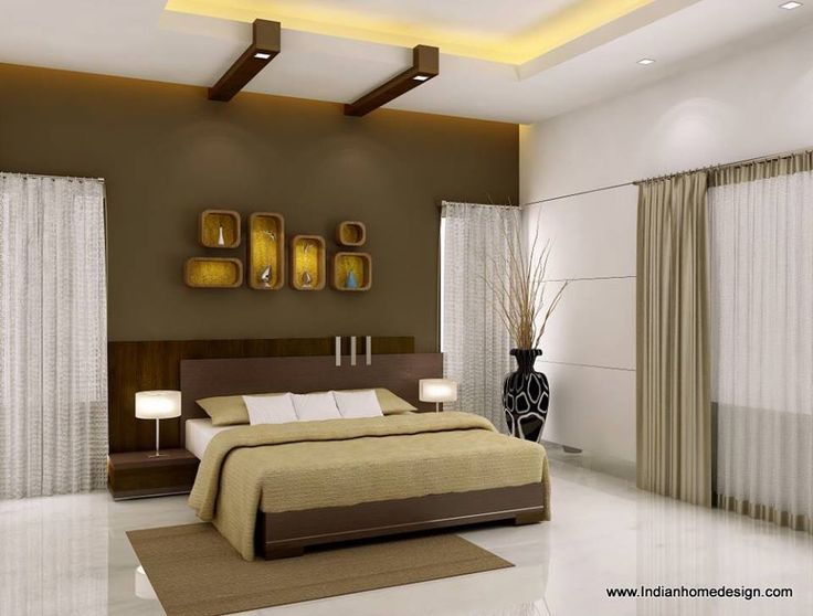 Brown Color Shades Bedroom Decoration With A Bedroom Lamp,brown Carpet And  Bright Ceiling Design