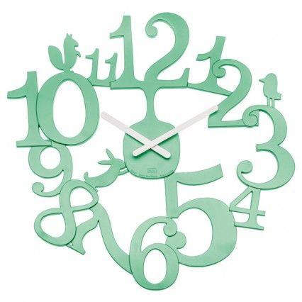 Koziol Pi:p Mint Wall Clock - modern stencil wall clock