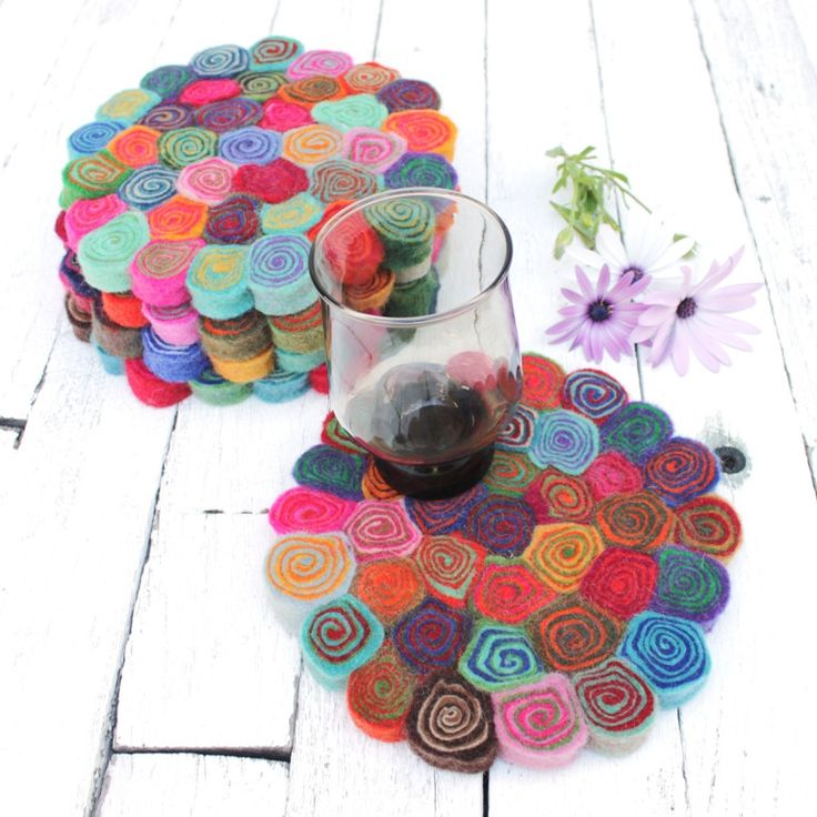 Felt Spiral Trivets | 20cm All our felt pieces are handmade by our artisan producers in Nepal