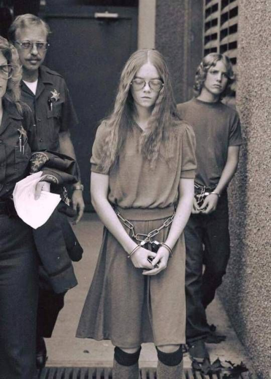 """""""I don't like Mondays"""". Brenda Ann Spencer in police custody after the Cleveland Elementary School shooting. January 1979"""