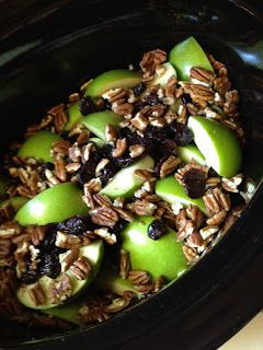 Paleo Crockpot Apples, Dates, and Pecans. I would use pure maple syrup instead of agave. And cut the amount out maple syrup in 1/2. Also needs some real vinalla