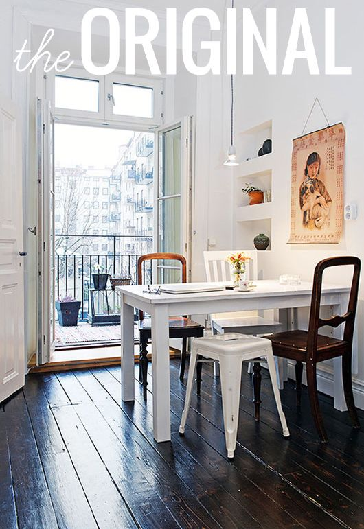 I am in LOVE with these floors.: Ideas, Interior, Dining Room, Mismatched Chairs, White Table, Kitchen, Space, Design