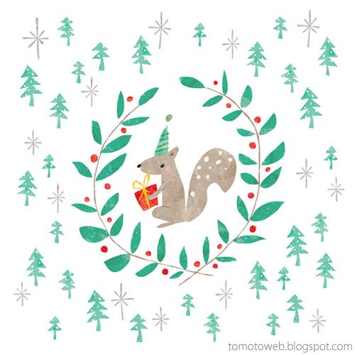 tomoto: Christmas Wreaths : Squirrel