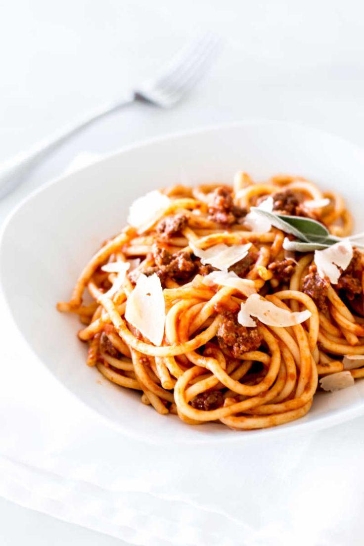 Simple Bolognese Recipe portrait shot of spaghetti