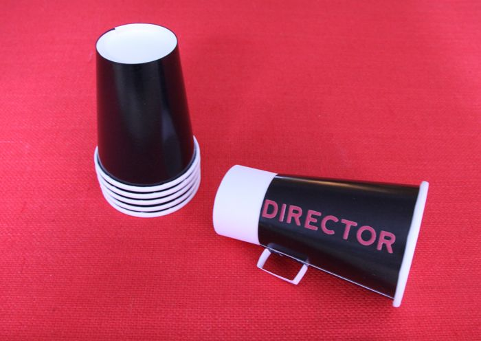 Megaphone Cups via Amy Atlas - designed to be directors megaphones for an Oscars party... These would be great for Vivian's cheer party too!