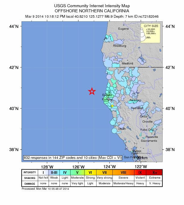 6.9 Northern California earthquake followed by aftershocks...MARCH 10, 2014