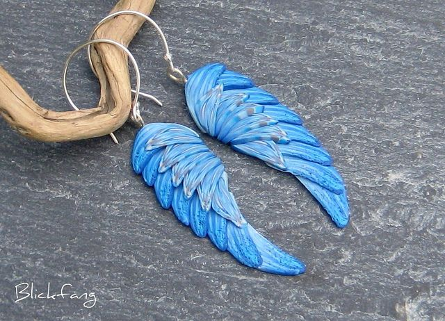 Perfect for the Sage Blue Angel in your life.  ;-)  Blue angel wing earrings.