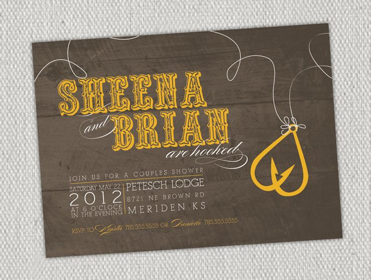 Love fishing hooks couples shower invitation mustard for Fishing wedding invitations