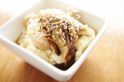 Sago pudding all geared up for the mums tomorrow, caramelised bananas, coconut and lime sago, palm sugar syrup .........