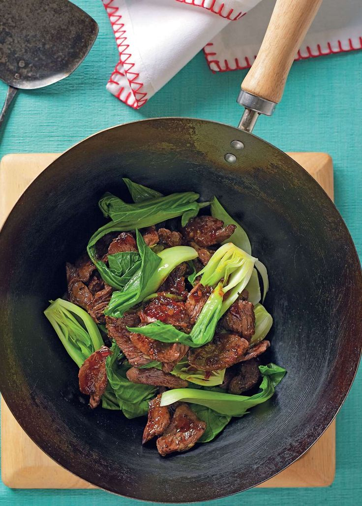 Chilli and soy stir-fried kangaroo with bok choy by Tiffiny Hall from Tiffiny's Lighten Up Cookbook | Cooked