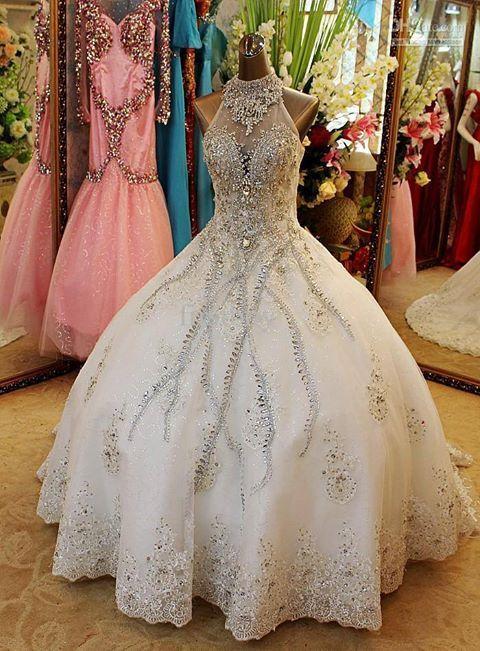 Wedding dresses,bridal gown,rhinestone wedding dress,high neck bridal gown,a-line princess wedding dress,lace bridal gown,PD190117