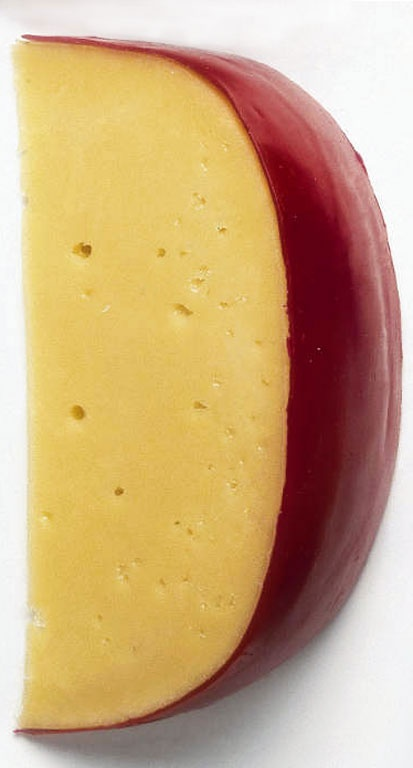 Edam.... Tastes very soft, a bit sweet and has a nutty flavour. When the cheese gets older then it will have the nice strong flavour...