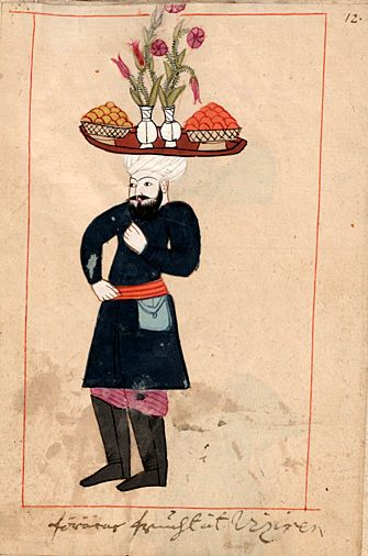 "Rålamb Costume Book 12 He carries fruits to the Vizir  ""förärar frucht åt viziren"" On the tray also vases with roses and tulips of the slender species wich was popular at the time."