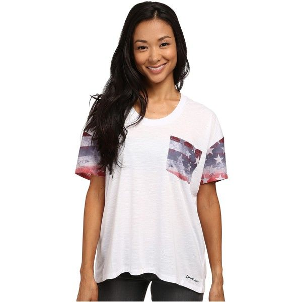 Converse Oversized Pocket Tee Women's T Shirt, White ($20) ❤ liked on Polyvore featuring tops, t-shirts, white, pocket t shirts, print t shirts, white stripes t shirt, pattern pocket tees and converse t shirt