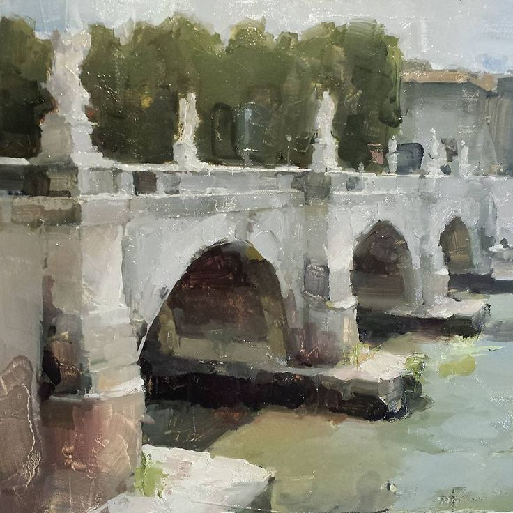 "James Kroner ""Ponte Sant'Angelo"" 11""x11"" oil"