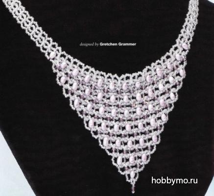 Свадебное ожерелье из бисера
