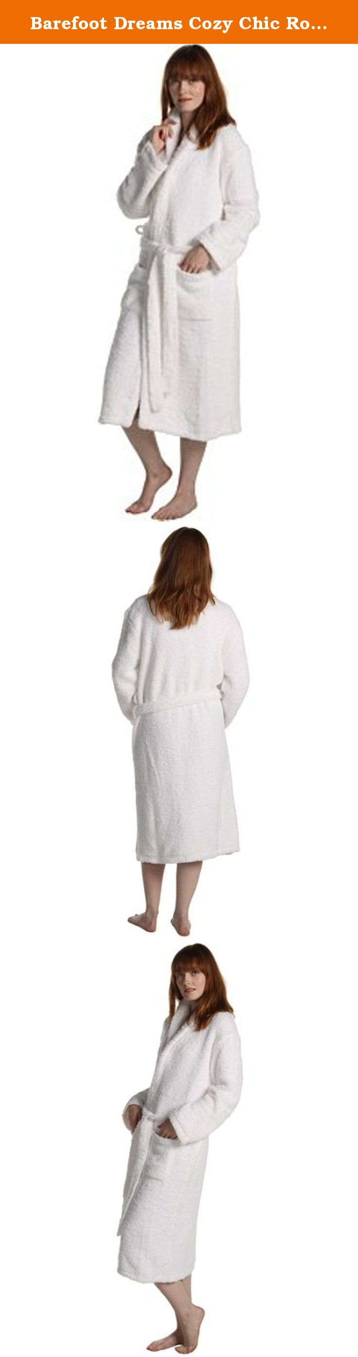 """Barefoot Dreams Cozy Chic Robes - Color: White, Size: 3. Envelop yourself in a lush sumptuous Cozy Chic Grown Up Robe and watch the cares of the world fade away. Made of the famous CozyChic knit, the Grown Up Robe is shawl collared, double belt looped, washable and dryable. Great year-round gift for all occasions: Christmas, Valentine's Day, Mother's Day, Father's Day, or an elegant birthday, wedding or house warming gift. Size 1 = 5'6"""" and under, approx length 42""""; Size 2 = 5'6"""" to 6'0""""..."""