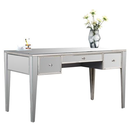 threedrawer desk covered in mirrored panels and silver leaf product material birch mdf mirrored glass and