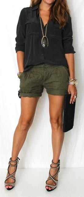 "Black""slouchy fit"" button up shirt , pendant necklace, military green shorts, and sandals"