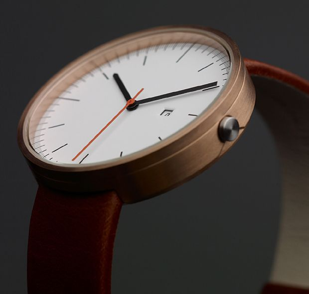 Calendar watch by Uniform Wares - Rose gold, coated steel case, satin-brushed finish, Italian calf leather strap, Hardened mineral crystal lens