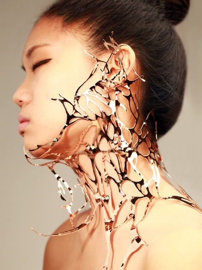 人體支架 .Chen Jia warm; Necklace Red copper Plating , Dent Body support 2011