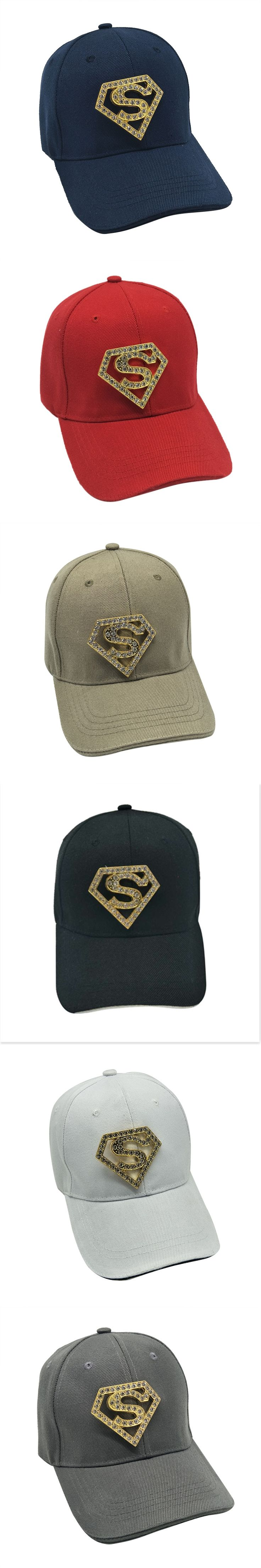 Top Quality Superman Unisex Baseball Hats Snapback Caps Men Outdoor Sun Hat Sports Cap Diamond Decoration Bone casquette homme