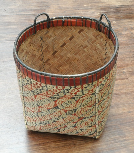 natural dye bamboo and rattan basket, West Kalimantan