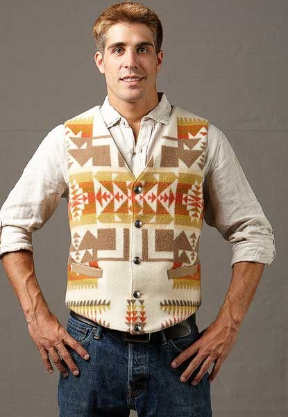 Native Vest, Chief Joseph Cream. Great pick for Men's Western Vests