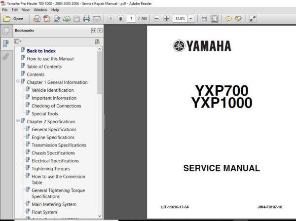 Yamaha Pro Hauler 700 1000 2004 2005 2006 Service Repair Manual Repair Manuals Repair Manual