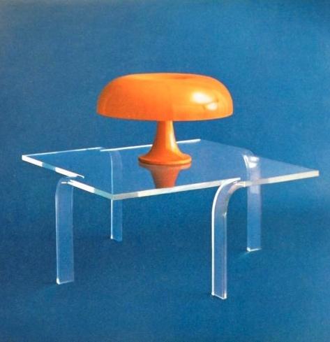 Acrylic table. Mod. Easily thermoformed leg design