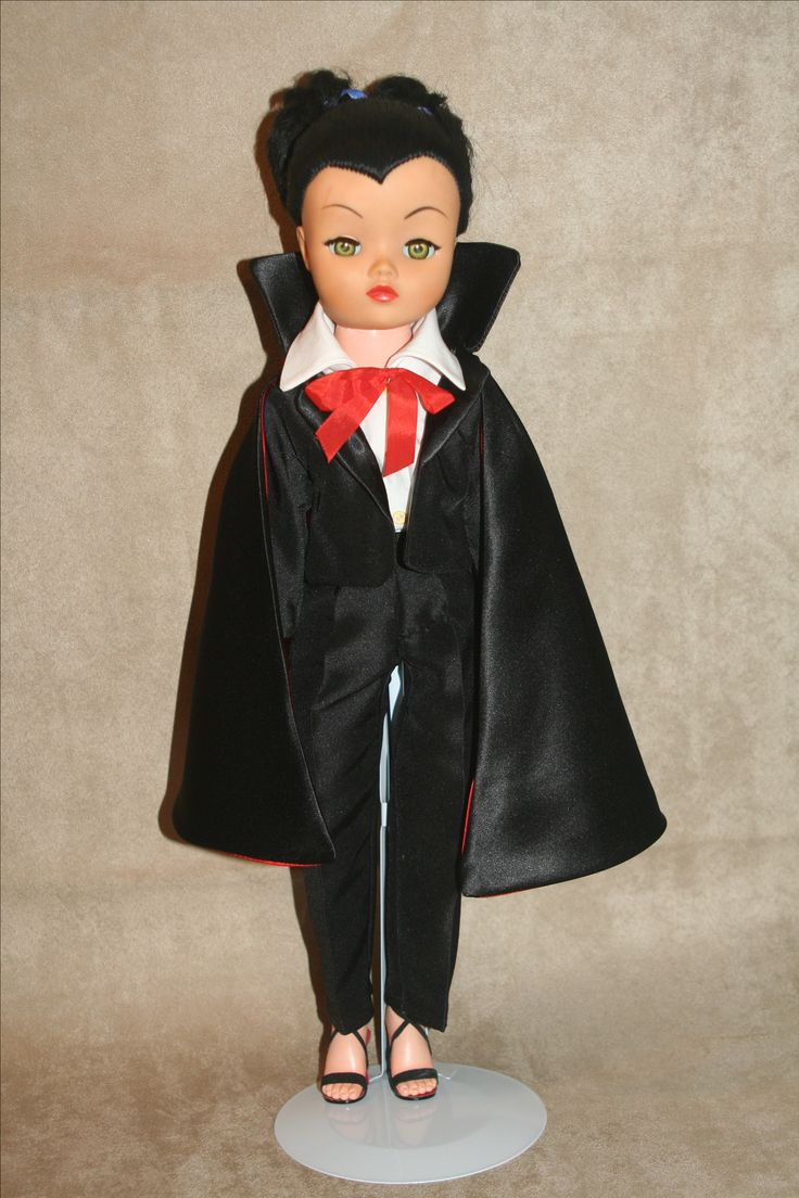 My widowpeak Dollikin, Bella my newest Dollikin dressed in a Bela Lugosi Dracula outfit my Mom made for her. Let me know if you'd like one.
