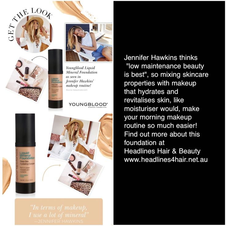 Jennifer Hawkins loves Youngblood Liquid Mineral Foundation.  Do you want to learn more about Mineral Cosmetics?  Do you have makeup questions?  Visiting Youngblood Makeup specialists are running an evening workshop at Headlines Hair & Beauty 6pm  Tuesday 23rd February Bookings essential - 07 41254220 #youngblood #workshop #makeup #eveningevent #youngbloodmineralcosmetics #headlinesherveybay #newlooks #newideas #minerals #howto #colourmatching #foundation #coverage #whatsnew #changeyourlook