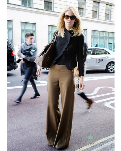 A pair of stylish full-volume trousers commands attention.