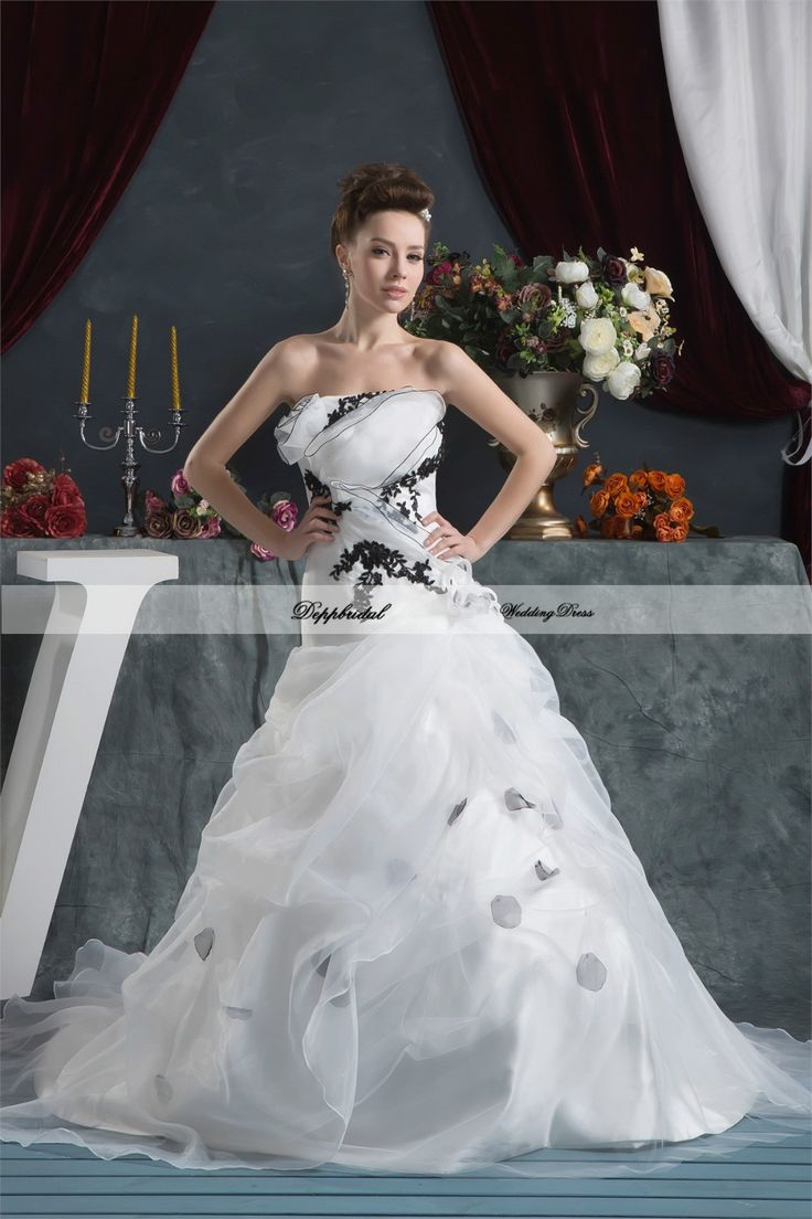 Wholesale Organza A Line Strapless Flowers Floor Length