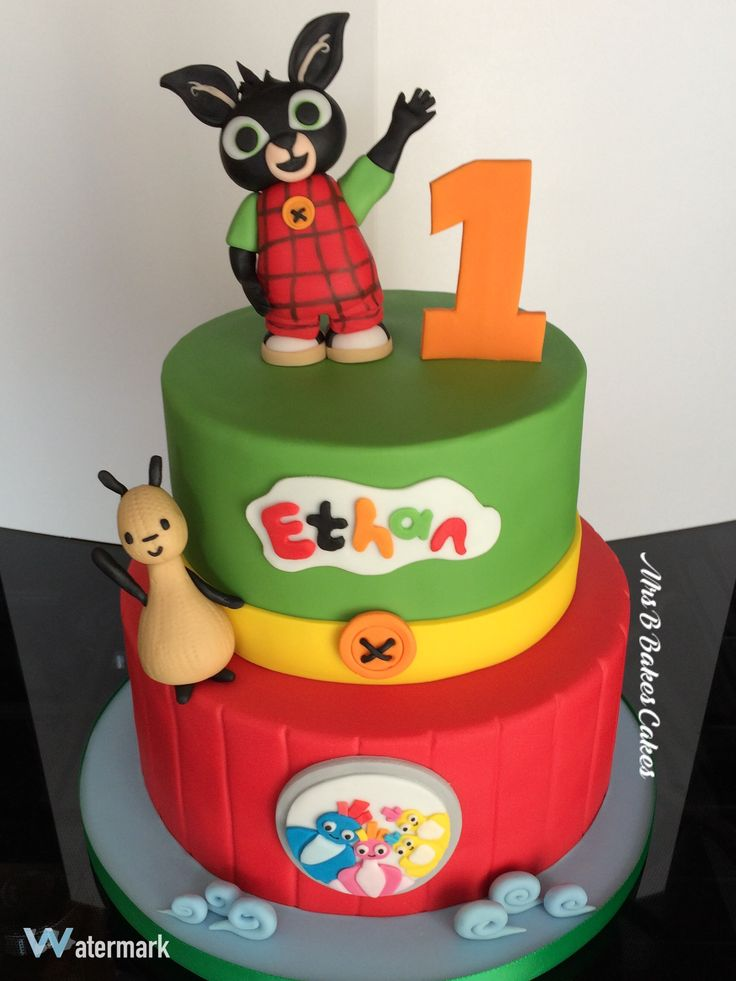 Bing and the Twirlywoos First Birthday Cake Two tiers, entirely handcrafted,entirely edible 2016 by Mrs B's Bespoke Cakes https://mrs-bs.co.uk/ www.facebook.com/mrsbcakeologist/