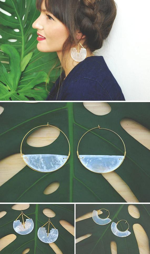 RawFinery's hand-carved capiz shell earrings give minimalist statement jewelry a delicate twist. #etsyjewelry