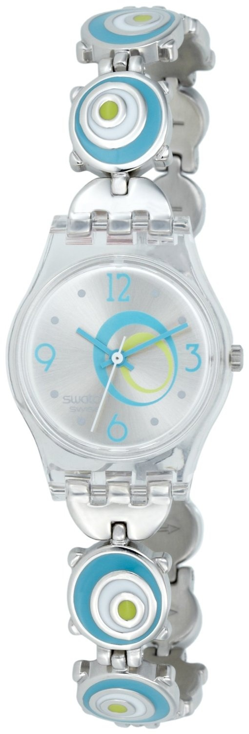 Swatch Women's Check Pea LK267G Blue Stainless-Steel Quartz Watch with Silver Dial, (swatch ladies watches lk267g - ww by swatch)