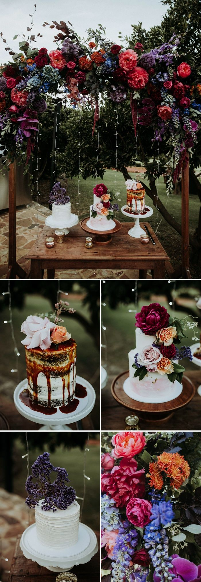 What a dream of a cake table | Image by Black Bird Tale -multiple small cakes in various styles vs 1 all the same large cake