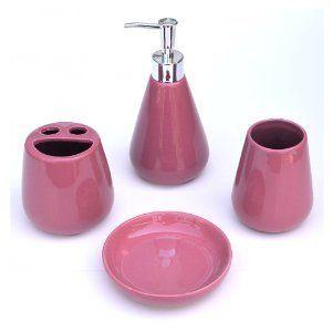 Bathroom Black Accessories Blush Pink Plum