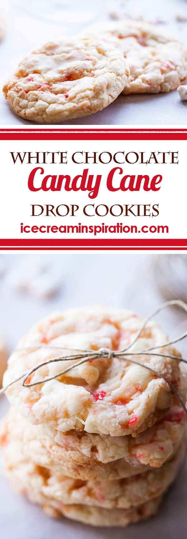 ~ White Chocolate Candy Cane Drop Cookies ~ icecreaminspirations.com