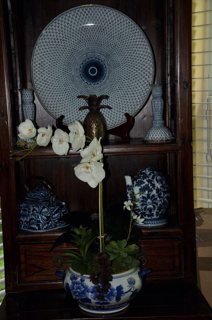 Blue & white -- faux orchid & succulents in a blue & white soup tureen  DYI Flower Arrangement