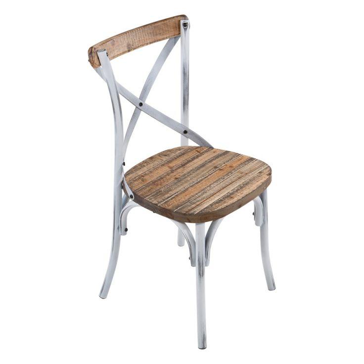 Chaise bistrot vintage en bois et métal patiné - Madie - 4 Pieds : tables, chaises et tabourets