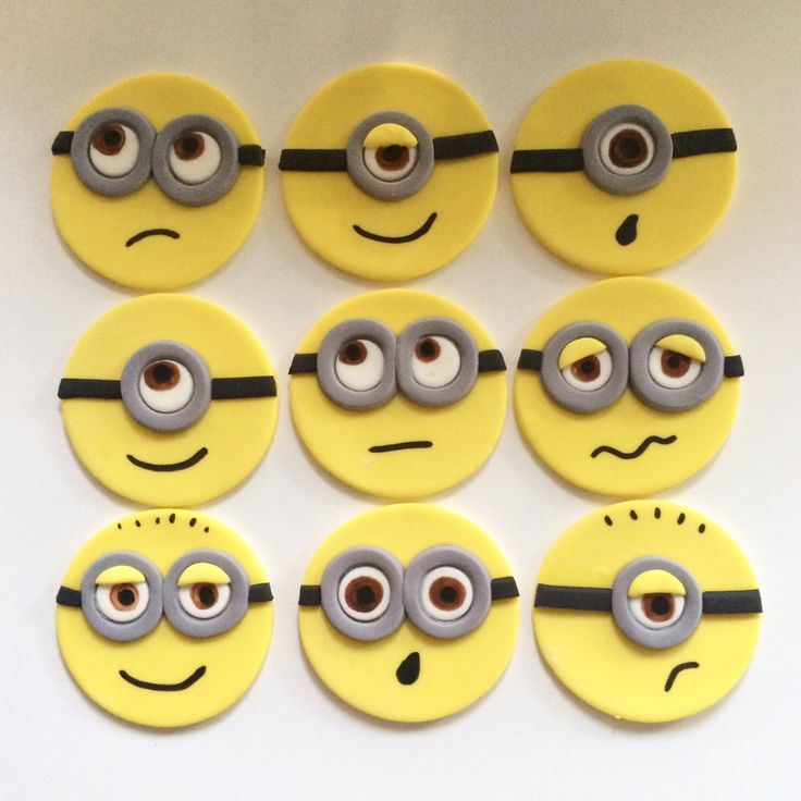 Minion Cupcake Toppers | Fondant by MilkandHoneyCakery on Etsy https://www.etsy.com/listing/249767383/minion-cupcake-toppers-fondant