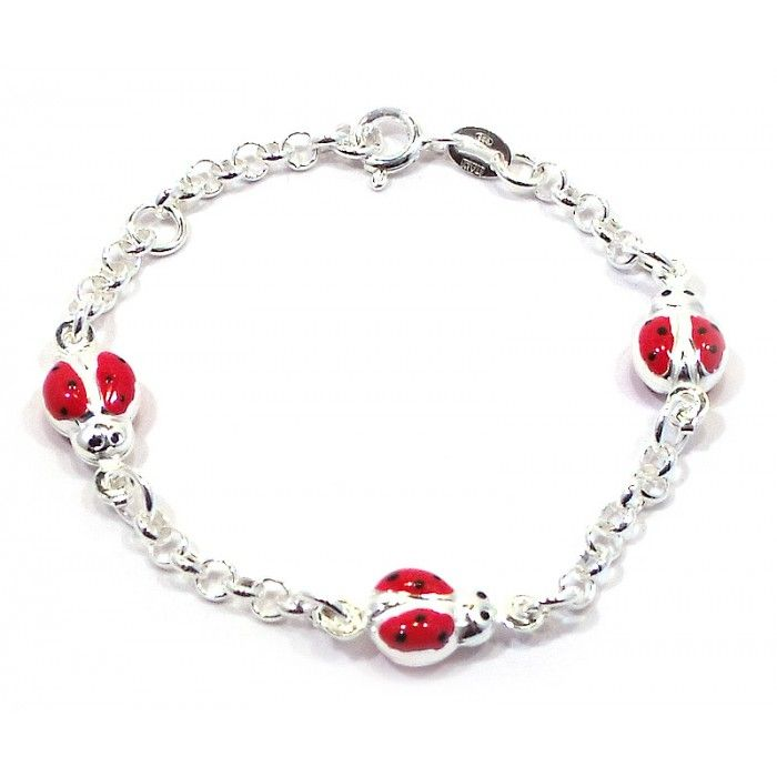Baby and Children's Bracelets:  Sterling Silver Italian Rolo Ladybug Bracelet with Hand Enameling