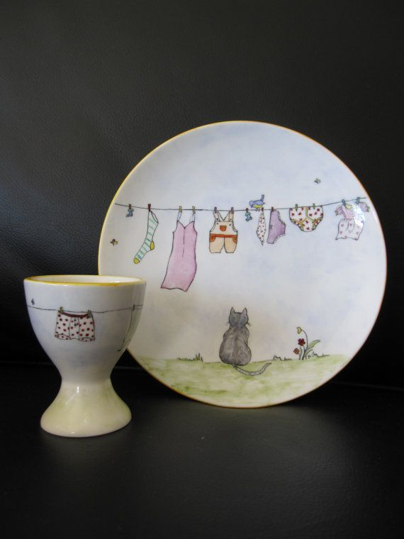 Plate and Egg cup hand painted bone china washing by TheChinaHutch, $33.50