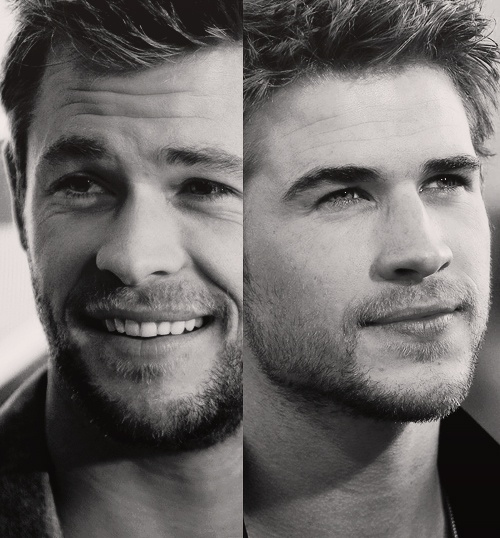 mmm love me some scruff. Hemsworth Brothers.