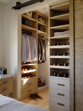 The Rustic Modernist, bedroom, walk through closet, modern closet, simple closet, small closet