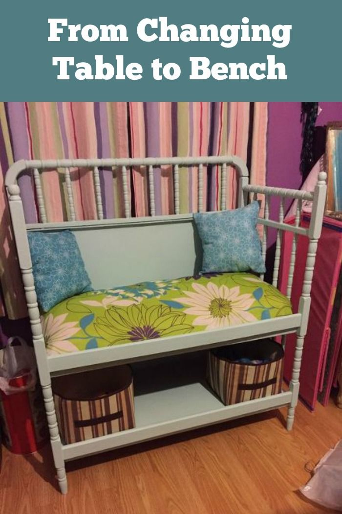 This clever mom converted a changing table to a bench ~ now she has the perfect area to read and spend time with her daughter.