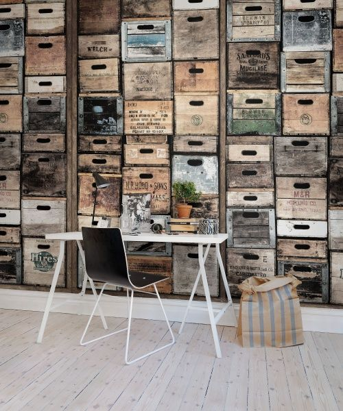 Industriel Urban Farm L.A., vintage. Wallpaper out of real boxes collected from all over California. #rebelwalls #wallpaper #wallmurals